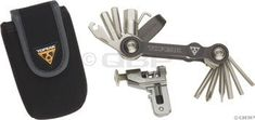 """Topeak The Mini Plus 18-Function Bicycle Tool by Topeak. $24.18. Mini folding, multi-tools keep bolts tight while still being small enough to fit into a jersey pocket.Includes:  - 2, 2.5, 3, 4, 5, 6, 8, 10mm Hex keys - Torx T-25 - Phillips & flat-head screwdrivers - 14g & 15g Spoke wrenches - Chain tool - HG chain pin tool - Tire lever - Bottle opener - 4mm Bit for adjusting the toolIncludes neoprene carrying pouch with belt loopDimensions: 3.2 x 1.7 x 0.8""""Weight: 185gChain too..."""