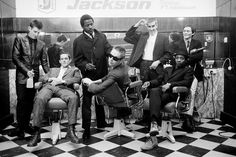 The Specials - Photographed By Brian Griffin - This images were taken in a barber shop in Coventry.