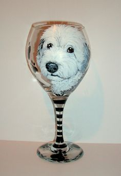 Pet Portrait Wine Glass Custom Hand Painted 1- 20 oz  Red or White Wine Glass Your Pet or Cat Horse Personalized Glassware Paw Prints & Name by SharonsCustomArtwork on Etsy