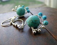Silver wire wrapped turquoise earrings by kapelusznik, $50.00 #jewelry #turquoise #silver #earrings