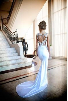 Dress open back, long wedding lace