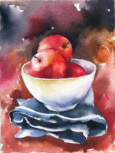 Watercolor on canvas (Still Life) on Behance Watercolor Canvas, Watercolor Texture, Watercolour, Be Still, Still Life, Beautiful Paintings, Behance, University, Create