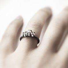Three . herkimer diamonds oxidized sterling silver by jewelryMirta
