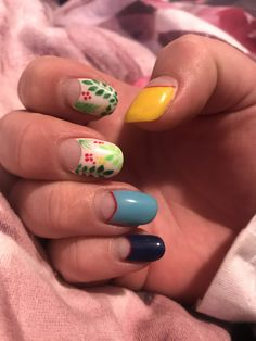 Blue yellow and white with negative space and tropical design, red detailing Negative Space Nails, Tropical Design, Blue Yellow, Nail Art, Red, Beauty, Nail Arts, Beauty Illustration, Nail Art Designs