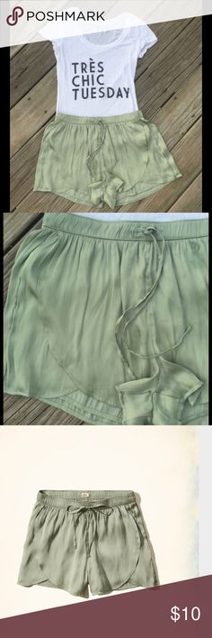 Hollister green Satin Shorts Hollister mint green satin shorts. Very silky to touch . Stretch waist with draw string. Casual look. Goes great with a crop top and sandals Hollister Shorts