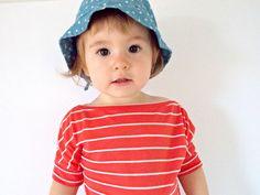 Boat Neck Tee  Coral Stripe Toddler Tee  by MissMollyJuneDesigns