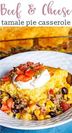 AD Your family will fall in love with this simple dinner recipe! Easy beef tamale pie is a Mexican-inspired casserole recipe with ground beef, beans, and veggies with a cheesy cornbread baked on top. #casserole #tamale #cornbread #beef #ohiobeef