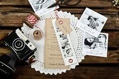 Online selbst gestalten: Einladung zur Hochzeit mit Herz auf Kraftpapier-Design im Countrystyle ❤ tolle Papierauswahl ❤ kostenlose Musterkarte