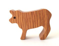 Miniature Wooden Cow Toy Waldorf Wood Country Farm Toys Hand Cut Scroll Saw