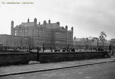Chorlton-cum-Hardy, West side, Oswald Road School from Manchester Road By A. Childhood Memories, Manchester, Nostalgia, Louvre, Street View, History, School, Building, Sketching