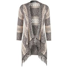 maurices Striped 3/4 Sleeve Cardigan With Fringe