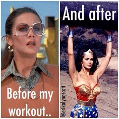 Before and after my workout (the new Wonder Woman movie is great btw)