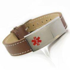 Brown Leather Medical ID Bracelet CUSTOM by MyIdentityDoctor, $39.99