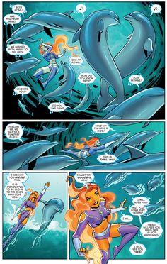 Starfire Swimming With Dolphins Starfire Comics, Marvel Dc, Marvel Comics, Superman Story, Original Teen Titans, Dc Comics Characters, Young Justice, Detective Comics, Dc Heroes