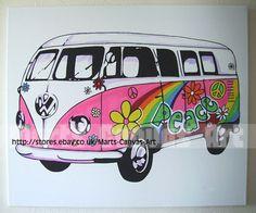 VW Hippy Camper Van  by ~MartsKustomArt Traditional Art / Paintings / Pop Art©2008-2011 ~MartsKustomArt  VW Camper van/bus Pop Art canvas Hand painted!