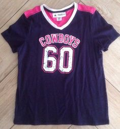 Girl's Dallas Cowboys Shirt Sz XL 16 Authentic Pink Short Sleeve NFL Football #DallasCowboysAuthentic #DallasCowboys