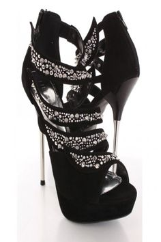 Black Faux Suede Spike Studded Beaded Strappy Stiletto Heels
