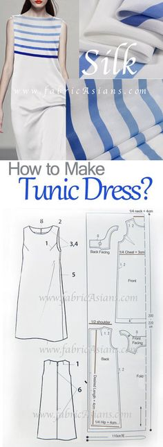 Simple summer dress sewing pattern. How to sew tunic dress?
