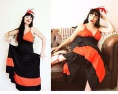 RED and BLACK FLAMENCO Spanish Dress rd3 Double Spaghetti