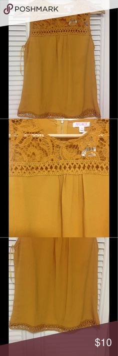 Mustard Tank Top Perfect summer top. Nice bright color and very details. Perfect for any summer day or vacation. Agaci Tops Tank Tops