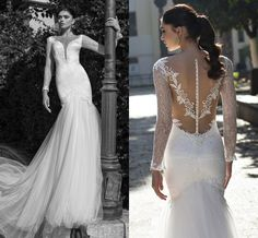 Off The Rack Wedding Dresses 2015 Riki Dalal Mermaid Style Wedding Dresses With Long Sleeves V Neck Appliqued Tulle Lace Bridal Gowns With Illusion Back And Chapel Train Sexy Lace Wedding Dress From Nicedressonline, $191.28| Dhgate.Com