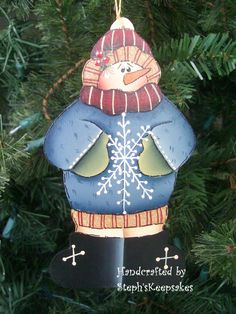 Hand Painted Snowman Ornament by stephskeepsakes on Etsy