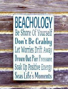 Beach Sign Beachology Unique Beach Theme Home Decor Rustic Wood Wall Art Custom Nautical Wooden Plaque Rules Wisdom Lessons Advice From The Ocean Gift by nettie