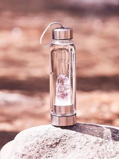 Glacce Crystal Elixir Water Bottle Looking to take your hydration to a whole other level? This Crystal Elixir Water Bottle features a pure crystal stone, which is said to promote purification and positivity. Cute Water Bottles, Glass Bottles, Glass Water Bottle, Water Bottle With Filter, Rose Gold Water Bottle, Glass Drinking Bottles, Stylish Water Bottles, Bottle Bottle, Jars