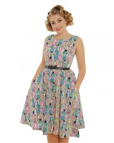 'Annie' Multicoloured Clever Cat Print Swing Dress - Lindy Bop