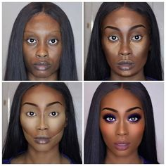 Black Women Makeup Tips For Dark Skin - Copper Eyes & Nude Lip Makeup - Black Hair OMG! Black Opal, Iman, Mac Tutorials & makeup ideas for black women. Contour Makeup, Eye Makeup, Hair Makeup, Contouring Dark Skin, Contour Kit, Black Girl Makeup, Girls Makeup, Beauty Make-up, Beauty Hacks