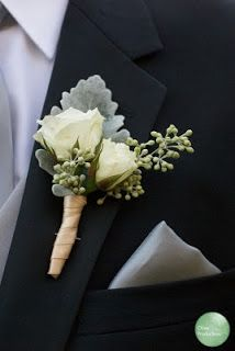 wedding flower boutonniere, roses, Dusty Miller and seeded eucalyptus
