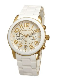 On ideeli  MICHAEL KORS Chronograph Mercer White Silicone Bracelet Watch  42mm 6c526016150