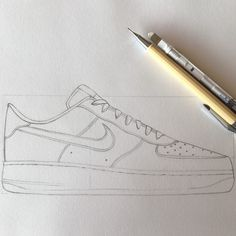 Nike Air Force 1 07 (Pas fini) crayon chaussure nike nikesb dessin drawing sneakers draw criterium gomme canson briac briacgaspard is part of Nike drawing - Cool Art Drawings, Easy Drawings, Drawing Sketches, Nike Drawings, Sneakers Sketch, Shoe Poster, Nike Air Force Ones, Allbirds Shoes, Pointe Shoes