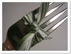 How to tie the perfect tiny bow using a fork...great for cards and invitations