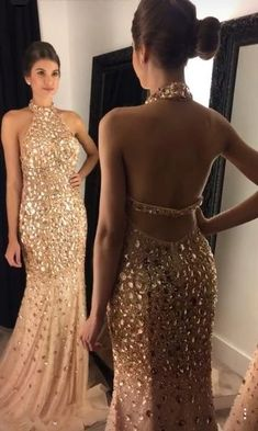Sexy Halter Neck Long Prom Dress With Fulle Beading Custom-made School Dance Dress Fashion Wedding Party Dress Source by YourDressTailor dresses cocktail Graduation Dresses Long, Open Back Prom Dresses, Prom Dresses For Teens, Sexy Evening Dress, Formal Evening Dresses, Formal Gowns, Dress Formal, Beaded Prom Dress, Mermaid Prom Dresses