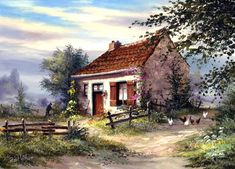 Rural Paintings by Reint Withaar and Their Country Coziness, фото № 40 Watercolor Landscape, Landscape Art, Landscape Paintings, Watercolor Paintings, Pintura Exterior, Painted Cottage, Dutch Artists, Landscape Pictures, Art Oil