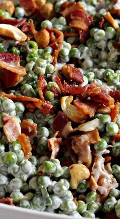 Crunchy Pea Salad with Bacon & Cashews