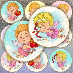 Baby Cupido  2.5 inch circles  set of 12  digital collage