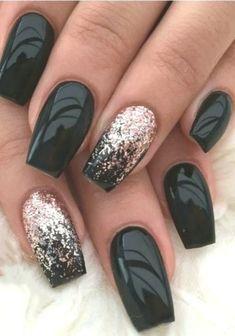 36 art designs for refined winter nails to inspire - Thalia Florez . Fall Nail Art Designs, Ombre Nail Designs, Black Nail Designs, Acrylic Nail Designs, Black Nails With Glitter, Black Acrylic Nails, Black Nail Art, Matte Nails, Acrylic Gel