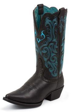 Justin Black Deertan Stampede Cowgirl Boots
