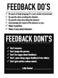 FEEDBACK DO AND DON'T BY @Lauren Davison Jane Daskal #leadfromwithin #leadership