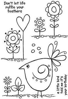 This clear stamp designed by Jane Gill features a cute and cartoonish bird with different flowers and an adorable heart shaped baloon. Size: 4 x 6 inches. Embroidery Patterns, Hand Embroidery, Art Drawings For Kids, Different Flowers, Clear Stamps, Rock Art, Doodle Art, Painted Rocks, Coloring Pages