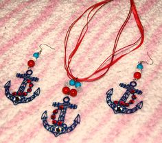 Sale - Anchor-anchor necklace -nautical jewelry set- necklace-earrings- red white blue- anchor earrings -patriotic jewelry set- crystals by AffordableAnchors on Etsy