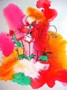 """Poppy Flowers by Barbara Van Rooyan Watercolor ~ 25"""" x 22"""""""