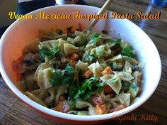 Healthy Vegan Mexican Inspired Pasta Salad Recipe.