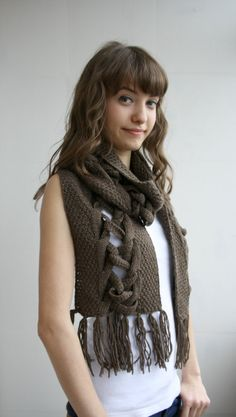 Free SHIPPING Brown Wool Special Design By DenizGunes Knit  Scarf Perfect Gift Under 75 For Women For Girl Friend Gift