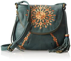 Lucky Brand Casbah Embrodiery Cross Body Bag,Hunter,One Size