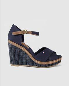 Sandalias de cuña de mujer Tommy Hilfiger de algodón azules