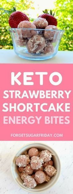 These Keto Strawberry Shortcake Energy Bites are a. These Keto Strawberry Shortcake Energy Bites are an awesome low carb, sugar-free dessert or snack. Also gluten-free, dairy-free, vegetarian, and vegan. Weight Watcher Desserts, Keto Fat, Low Carb Keto, Ketogenic Recipes, Low Carb Recipes, Ketogenic Diet, Ketosis Diet, Diet Recipes, Supper Recipes