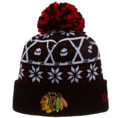 Chicago Blackhawks Ugly Christmas Sweater Knit Pom Hat by New Era #Chicago #Blackhawks #ChicagoBlackhawks